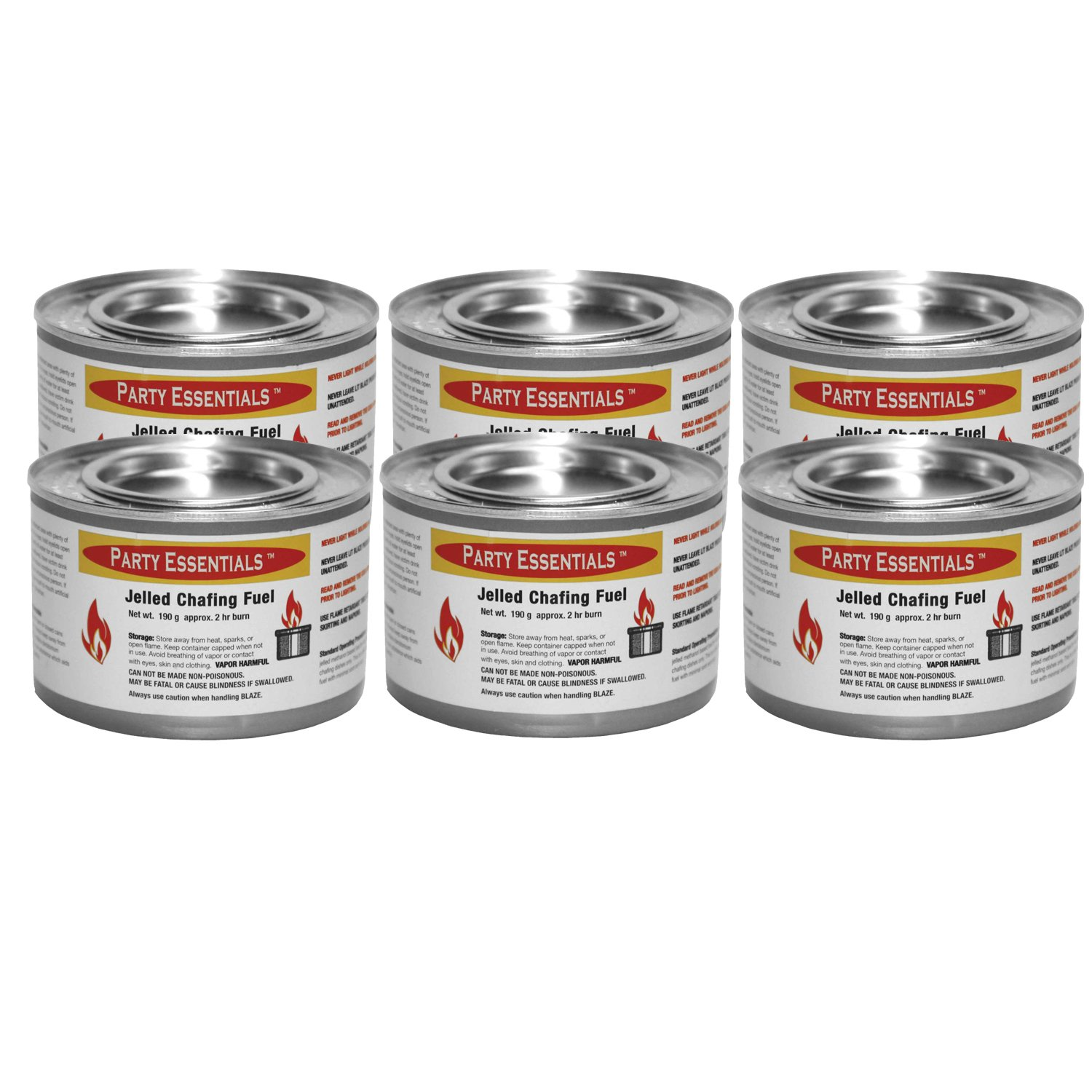 Party Essentials Chafing Dish Jelled Methanol Warming Fuel, 6-Pack