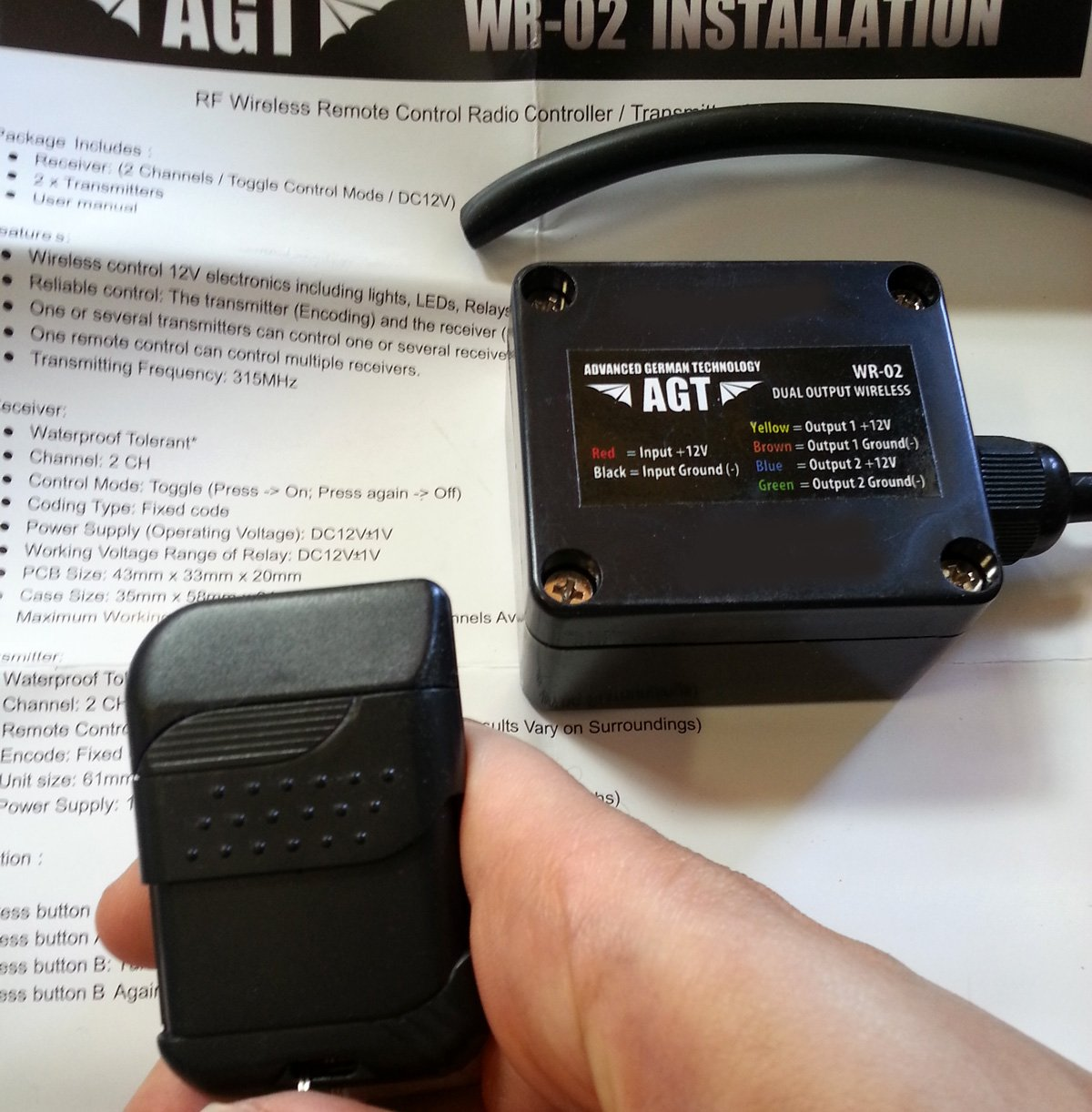 AGT 12V Waterproof Wireless Remote Control DC Universal 2