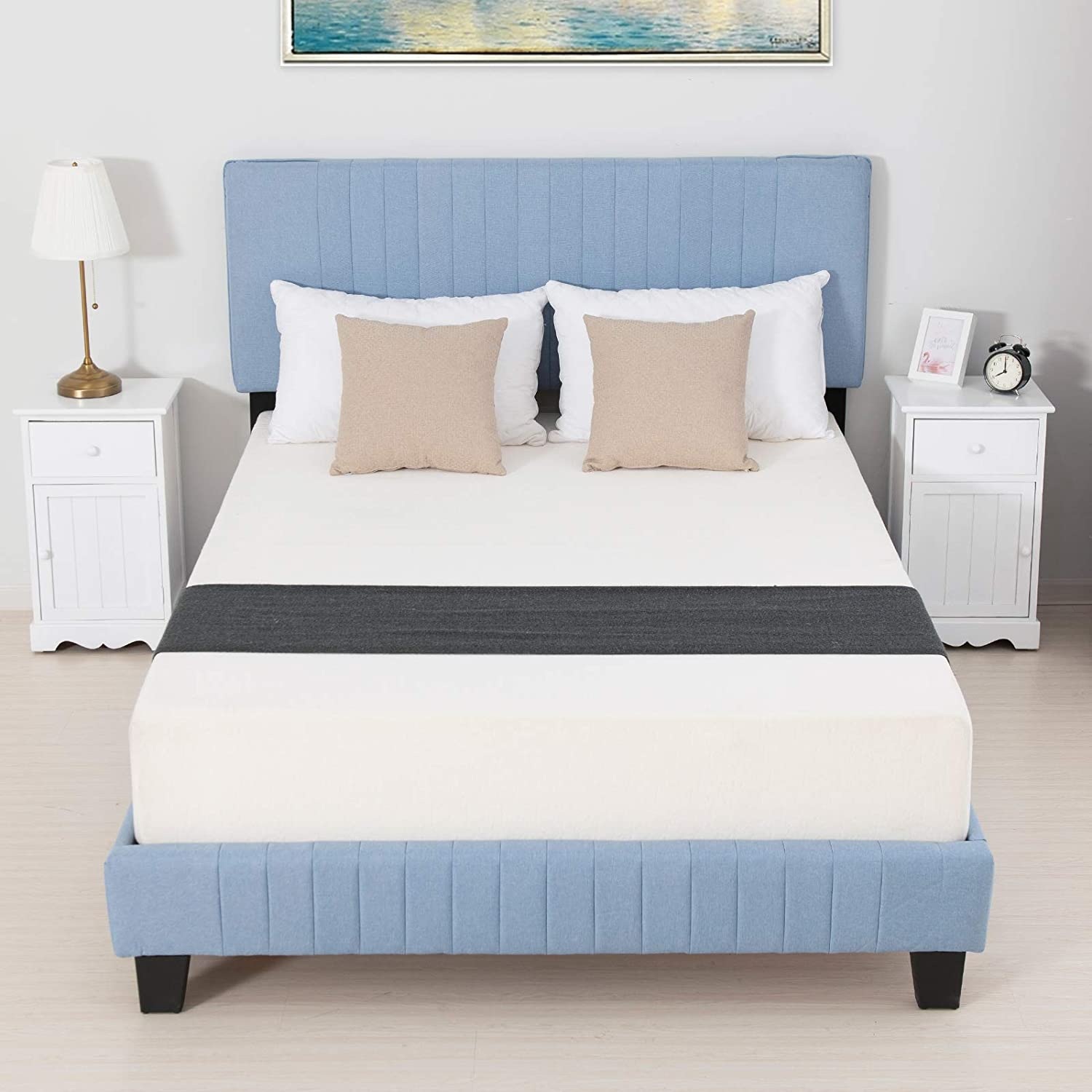 LAGRIMA Upholstered Linen Queen Bed Frame, Platform Bed with Vertical Striped Headboard and Metal Frame with Solid Wood Slat Support, No Box Spring Needed, Blue, Queen