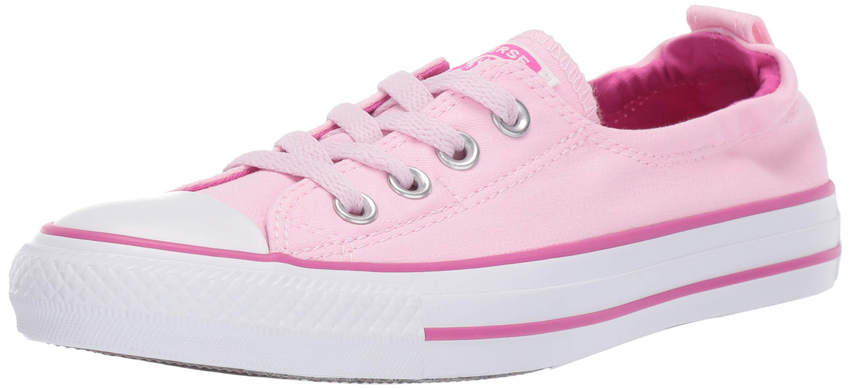 Converse Women's Chuck Taylor All Star Shoreline Linen Slip On Sneaker, Pink FoamActive FuchsiaWhite 6 M US