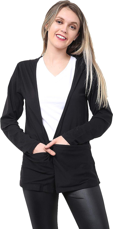 GW CLASSYOUTFIT Ladies Long Sleeve Pocket Cardigan Womens Boyfriend Open Cardigans Top Girls Sizes 8-26