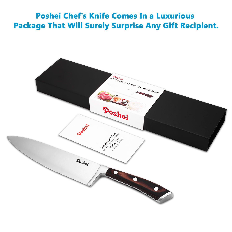 Chef Knife, Poshei 8 inch Multi-purpose High Carbon Stainless Steel Kitchen Knife with Razor Sharp Blade and Balanced Ergonomic Pakka Wood Handle with Gift Box by poshei (Image #9)