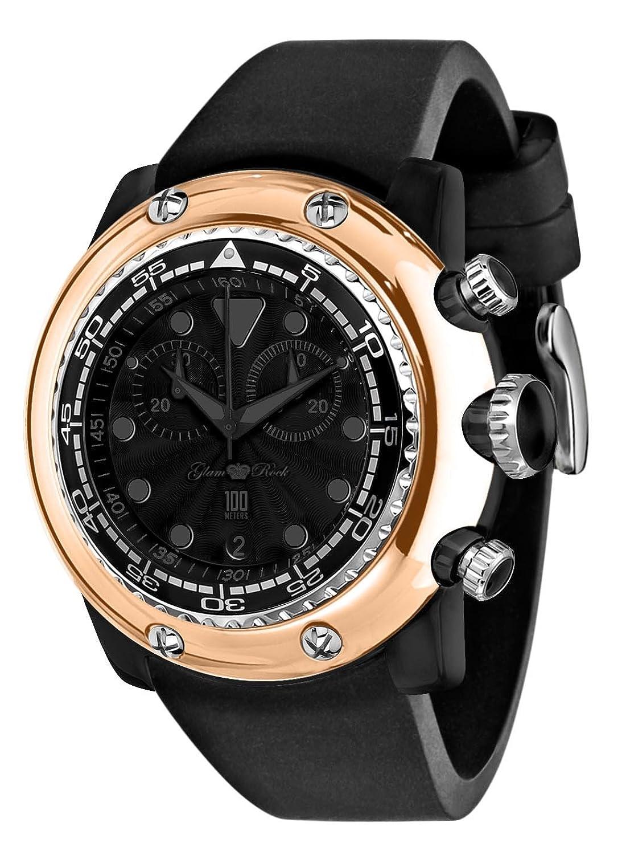 Glam Rock Unisex-Armbanduhr Analog Silikon Schwarz 0.96.2429