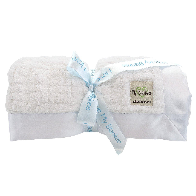 My Blankee Luxe Stripe Super Throw Blanket, Snow, 60'' X 70''