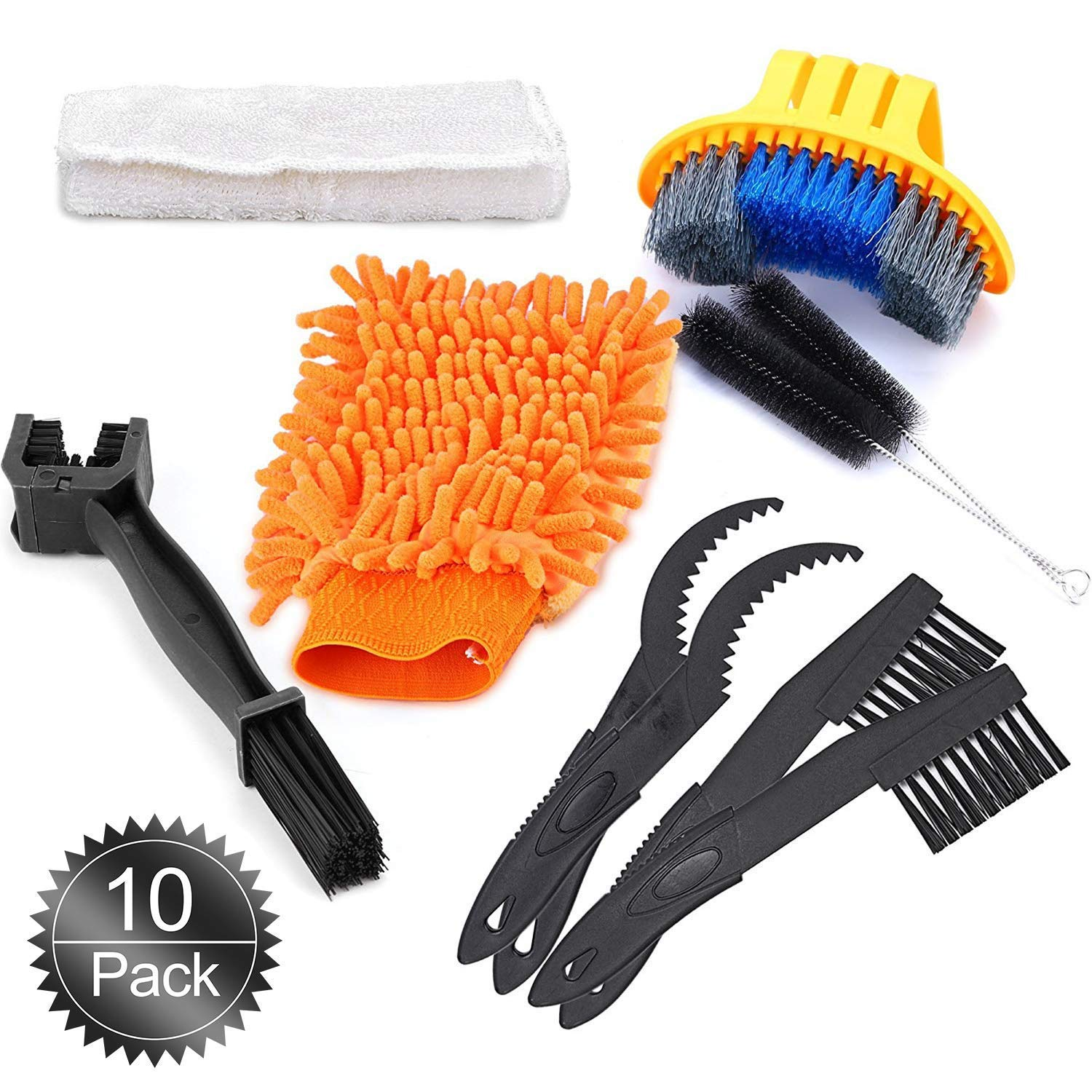 Oumers Bike Cleaning Tools Set (10 Pack), Bicycle Clean Brush Kit Make Mountain, Road, City, Hybrid, BMX and Folding Bike Chain/Crank/Sprcket/Tire Corner Rust Blot Dirt Clean | Durable/Practical by Oumers (Image #2)