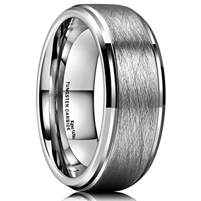 005d7ba0ddf King Will Classic 8mm Tungsten Ring Matte Brushed Finish Grooved Comfort  Fit Polished Men s Wedding Band