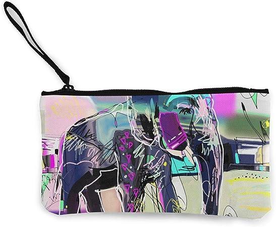Bearget Abstracto Memphis Pintura Digital de Elefante Indio, Monedas de Tela, Monedero, Bolso con Cremallera, Monedero, Correa de muñeca, Estuche para Maquillaje, para Mujeres y niñas: Amazon.es: Hogar