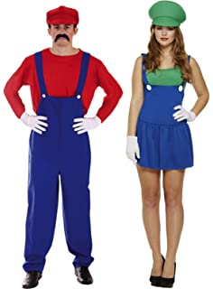 mens mario and ladies luigi couples workman plumber fancy dress costume outfit