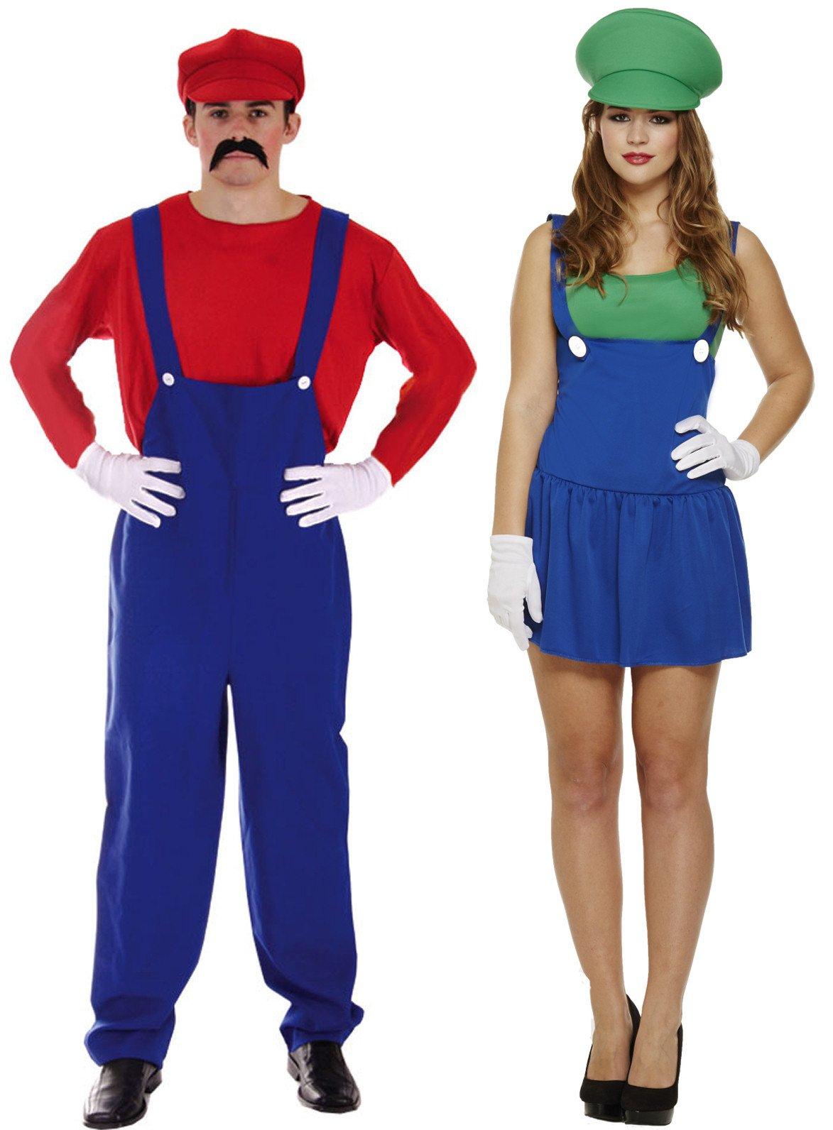 Super Mario Mens Fancy Dress Video Games Workman Plumber 80s Game Adult Costume