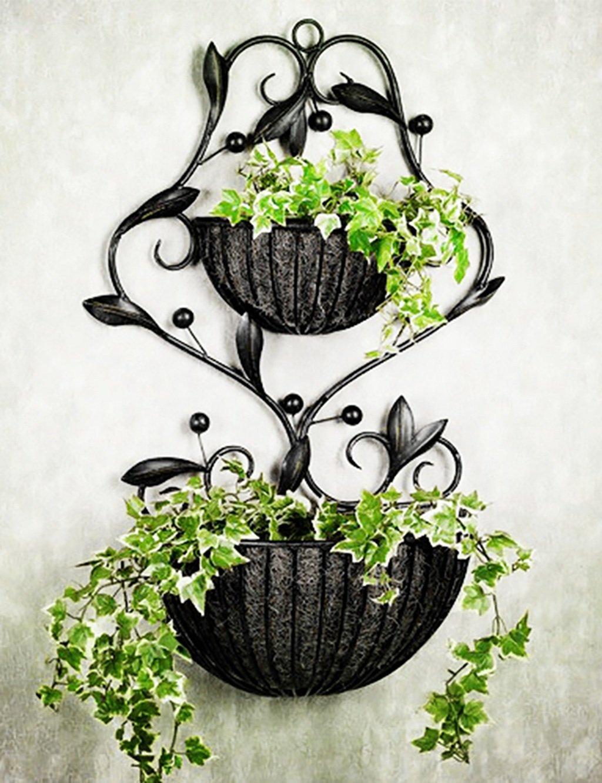 LB Moderne minimalistische Eisen Blume Rack Wand Hung Blumen-Topf Rahmen Blumenregal Balkon Boden Pflanzer Regal Einfache moderne Wohnzimmer Indoor Flower Rack (2 Styles verfügbar) Montage Blumentopf Regal ( farbe : A )