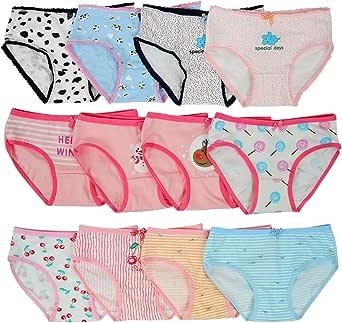 Kidear Serie de niños Paquete de 12 Calzoncillos para niñas Bragas de los niños Calzoncillos de algodón Suave Calzoncillos para bebés Edad 2-10 años
