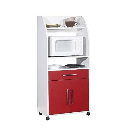 Générique Carrito para microondas, Color Blanco y Rojo