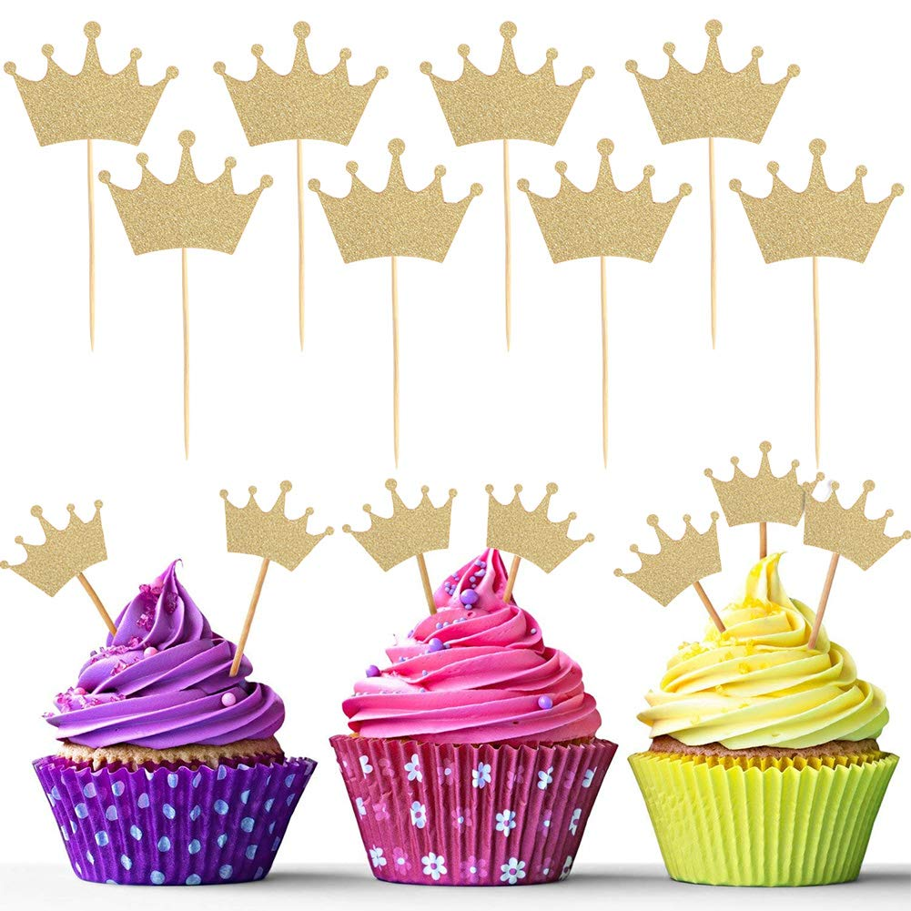 10 Pcs Princess Tiara and Crown with 20 Pcs Glitter Gold Crown Cupcake Toppers Gift Set Party Supplies for Girl's Birthday by Qunan (Image #4)