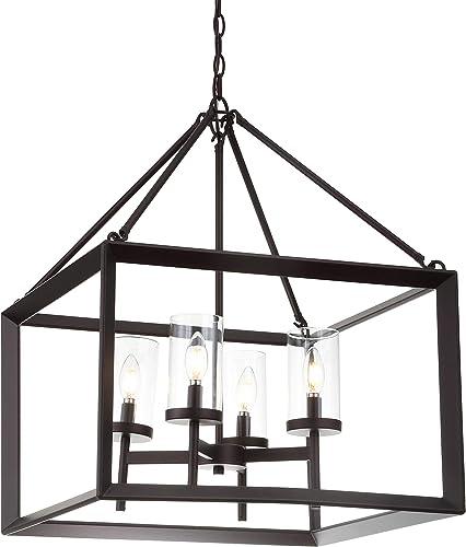 JONATHAN Y JYL7413A Anna 21″ 4-Light Metal/Glass LED Pendant