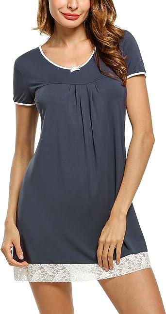HOTOUCH Mujer Verano Manga Corta Camisón Vestido Ropa de Dormir Pijama Cuello en V Encaje de Algodón: Amazon.es: Ropa y accesorios