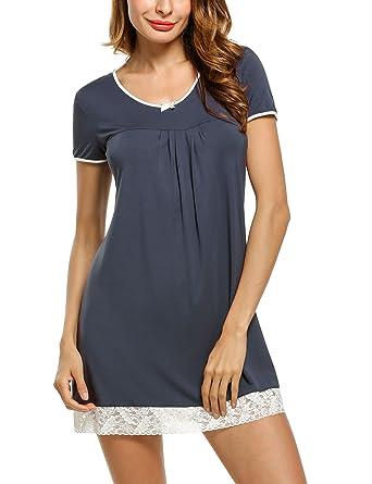 0da65389cfc602 UNibelle Damen Nachthemd Kleid Nachtwäsche Negligees Kurzarm Mit  Spitzenbesatz, A-grau, S