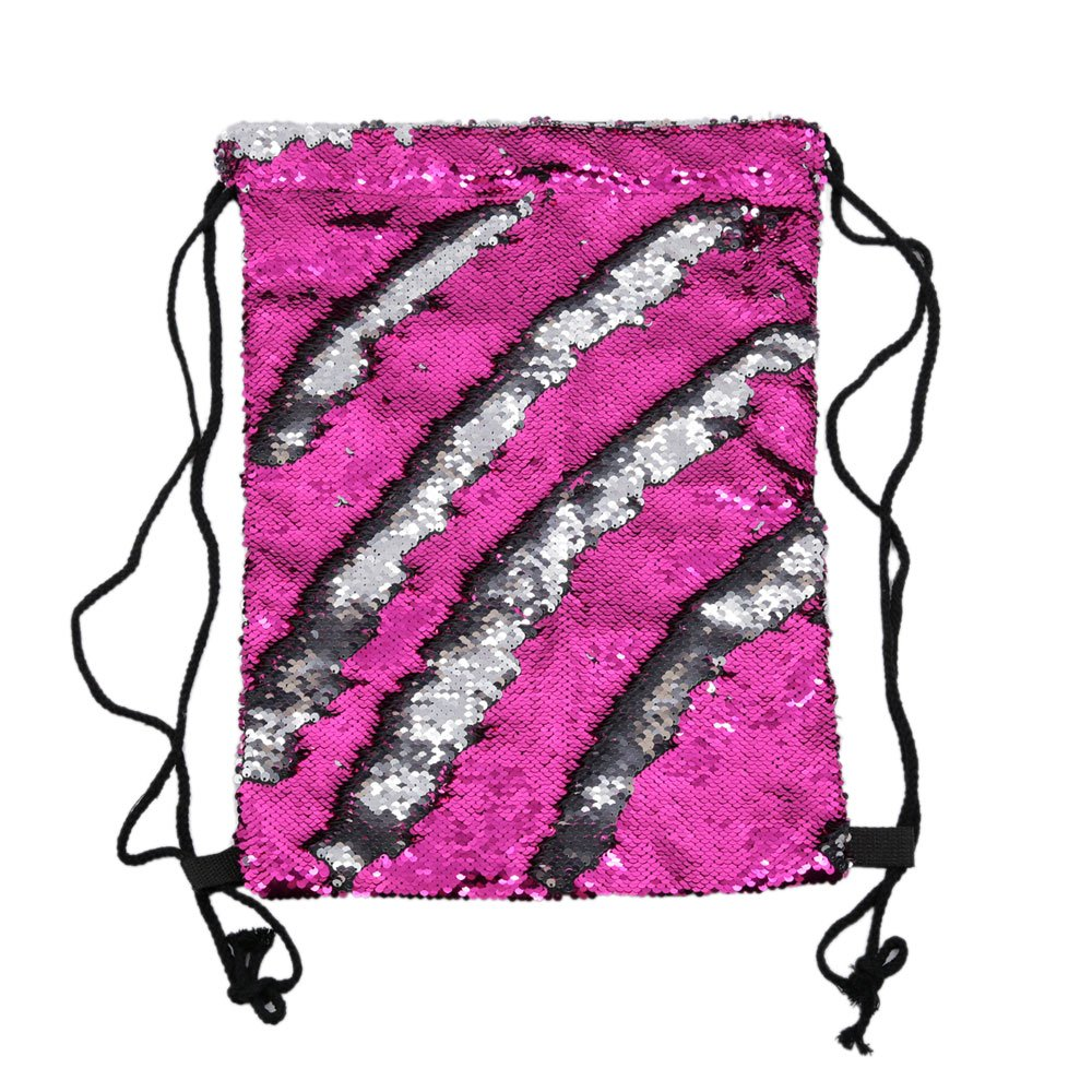 Mermaid Drawstring Bag Magic Reversible Sequin Backpack Glittering Dance School Bag for Yoga Outdoors Sports,Mothers' Day Gift for Girls Women Kids(Rose/silvery) by Segorts (Image #5)
