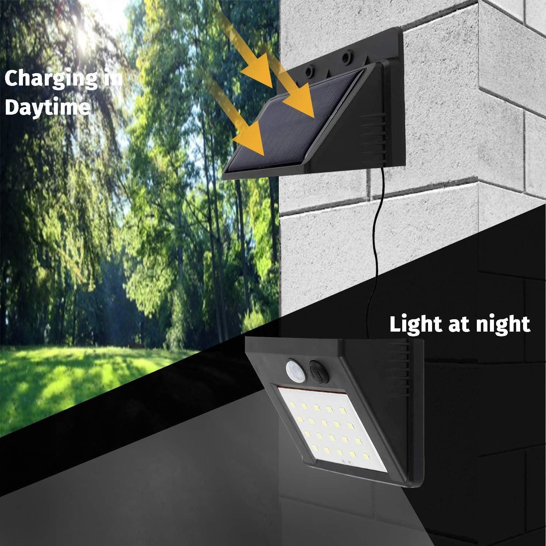 3 Modes D/éclairage pour Jardin Garage Sous-Sol Cabanon 1-Pack Applique Murale Aliment/ée Par Panneau Solaire 30 LED 6W 500lm S/éparable /Étanche S/écurit/é Ext/érieure Capteur de Mouvement PIR YAYZA