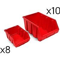 Juego de 18 gavetas cajas apilables plástico tamaño
