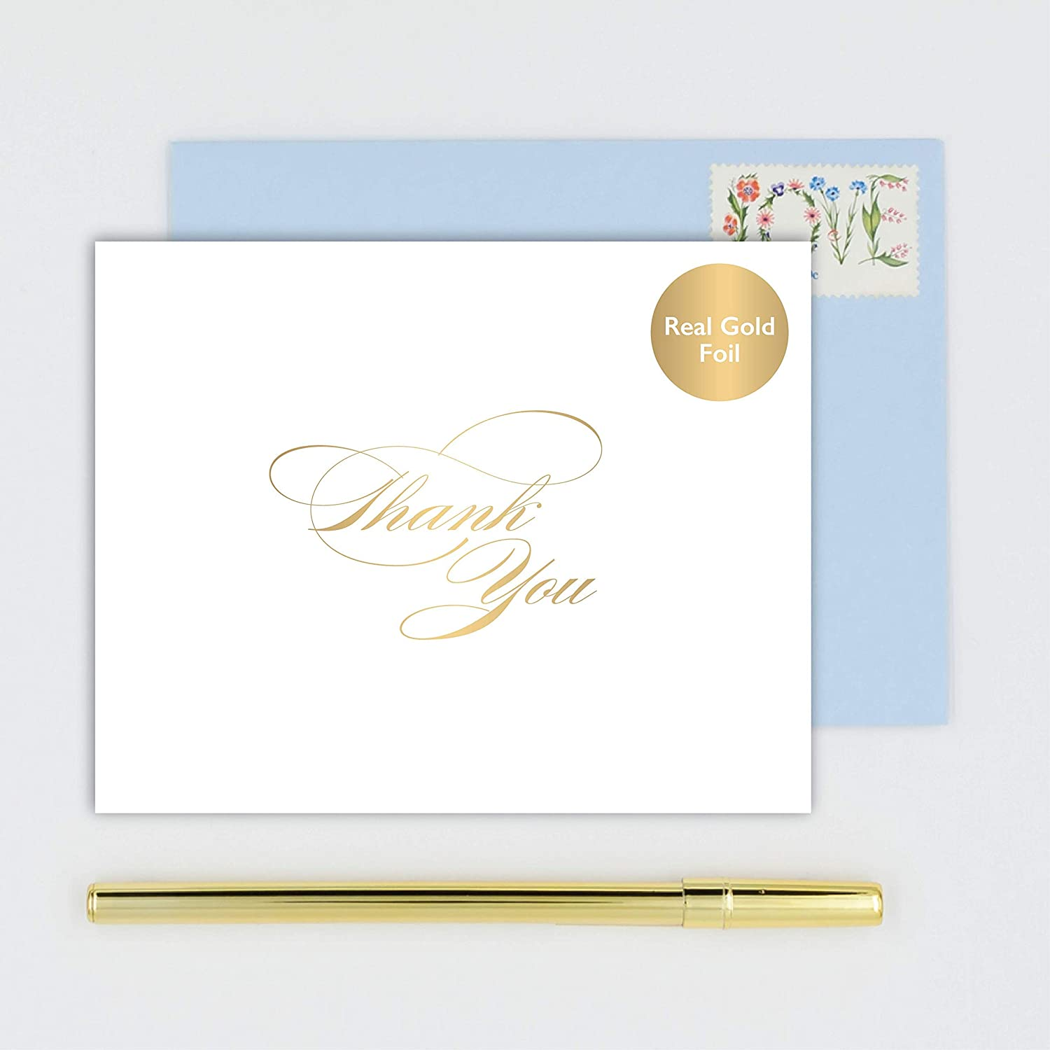 Thank You Cards Stationery - Boxed Set of 10 White Folded Notecards with Choice of Envelope Color - Handmade Gold Foil Stamped Note Cards
