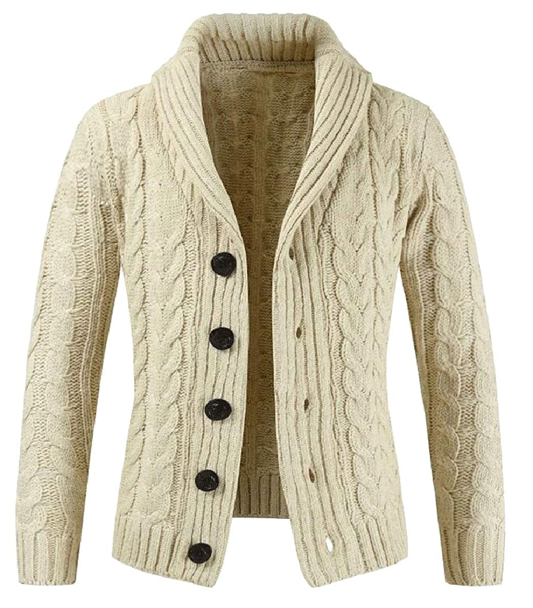 ONTBYB Mens Shawl Collar Knitted Cardigans Loose Fit Buttons Down Sweaters