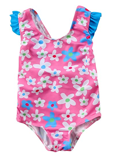a207515cab Amazon.com: Toddler Baby Girls Floral Cross Back Swimsuit Beachwear ...