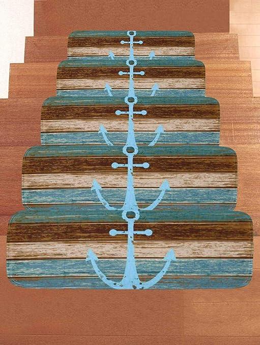 LOUTAB Alfombras para Escalera, Ribeteado Antideslizantes para peldaños Runner decoración del hogar para Escalera Antideslizantes Alfombrilla para peldaños Silencio Alfombra-Un-Set de 5 Unidades: Amazon.es: Hogar