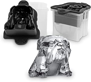 Tovolo Leak-Free, Slow-Melting Novelty Bulldog Ice Silicone Sealed Lid Anti-Tip, Set of 2 Stackable Molds for Whiskey, Spirits, Liquor, Cocktails, Soda & More, 2.5in, Charcoal