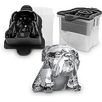 Tovolo Leak-Free, Slow-Melting Novelty Bulldog Ice Silicone Sealed Lid Anti-Tip, Set of 2 Stackable Molds for Whiskey…