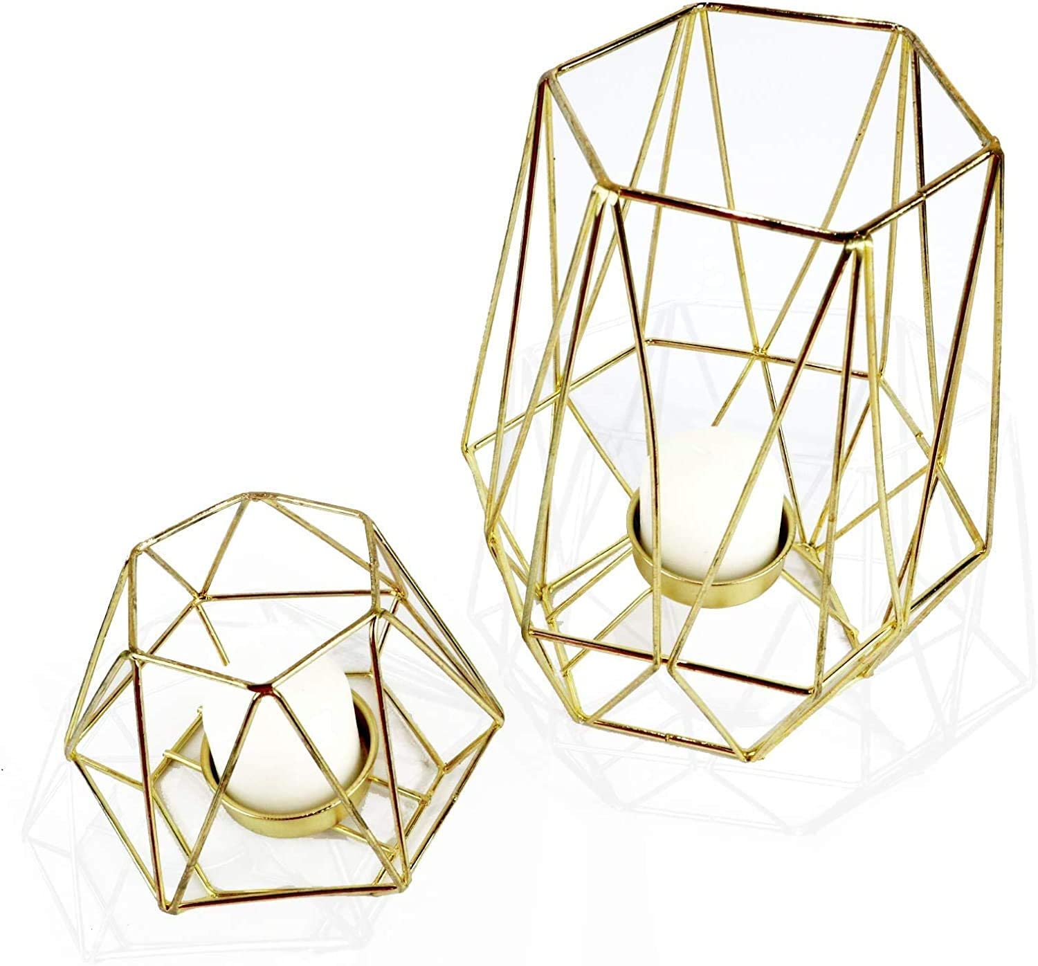 Geometric Gold Tealight Holder for Table Decor Large and Small Metal Hexagon Votive Candle Centrepiece for Shelf Decor Set of 2