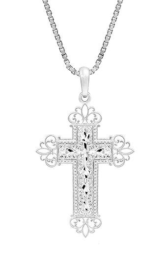 Amazon honolulu jewelry company sterling silver filigree cross honolulu jewelry company sterling silver filigree cross necklace pendant with 18quot aloadofball Image collections