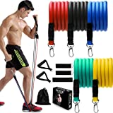 Resistance Bands Set, 11 Piece Exercise Bands with Large Handles, Door Anchor, Out Portable Home Gym Bands Resistance…