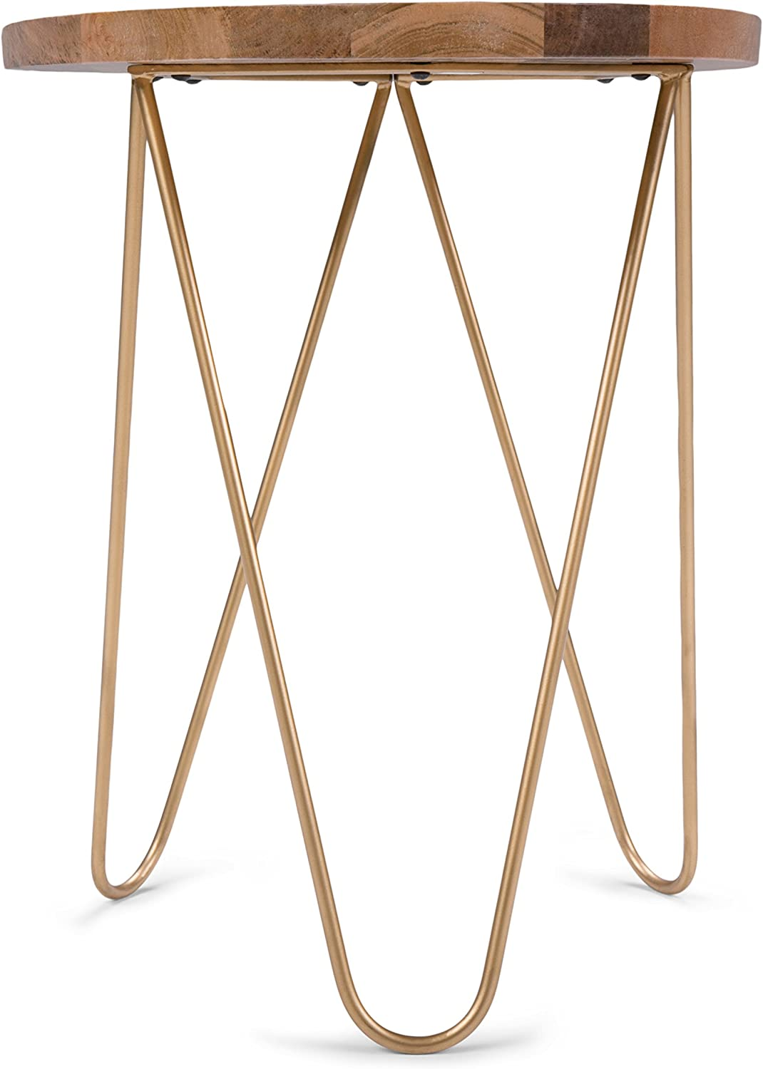 Natural and Gold Simpli Home Patrice Metal//Wood Accent Table