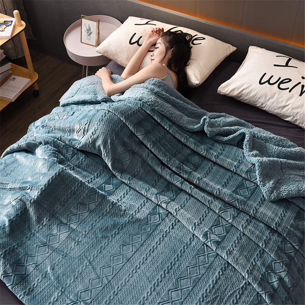 Autumn and Winter Thick Double-Layer Warm Solid Color Carved Lamb CashmereBlanket by iangbaoyo
