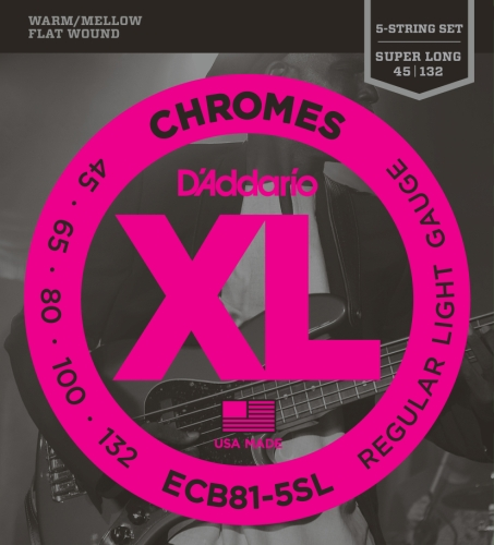 D'Addario ECB81-5SL 5-String Bass Guitar Strings, Light, 45-132, Super Long Scale Daddario Chrome Bass Strings