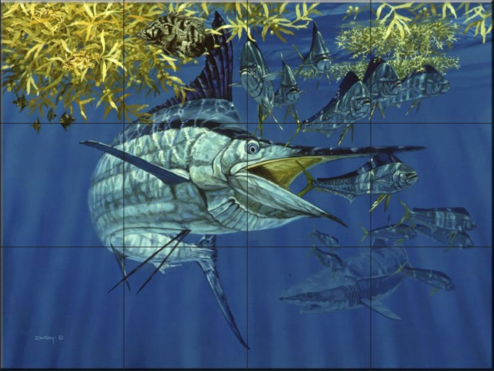 Ceramic Tile Mural Blue Marlin In Sargussum By Don Ray Kitchen