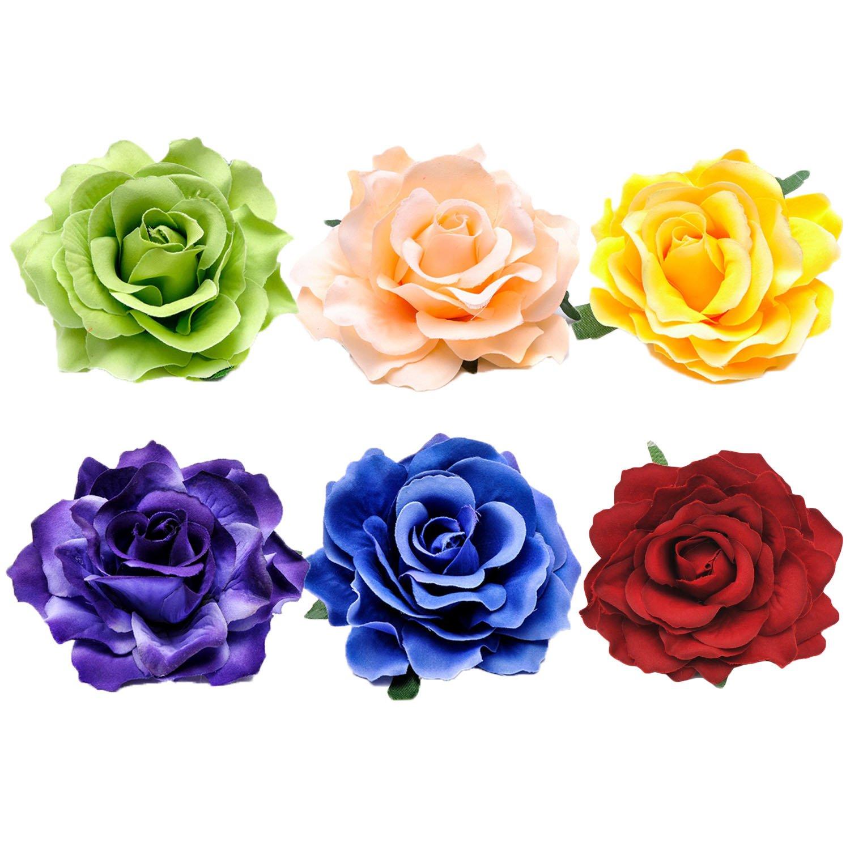 6 PCS Assortiment de couleur femme mariée rose fleur corsage cheveux clip Barettes accessoires pour fête anniversaire de mariage Vococal