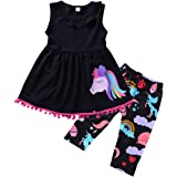 Ant-Kinds 2-7T Toddler Girls Pony Seeveless Shirt Tops + Cropped Pants Outfits Clothes Set