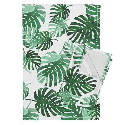 Amazon.com: Roostery Palm Tree Tea Towels Palm Leaf Beach ...