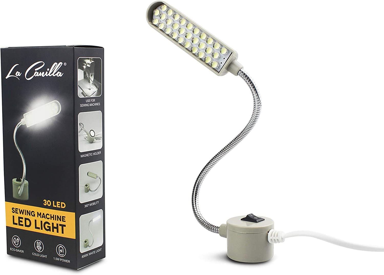 La Canilla ® - Lámpara 30 LED para Máquinas de Coser Singer, Alfa y más | Con Imán y Cuello de Cisne, Bombillas de Luz Blanca Fría 8000K 210LM