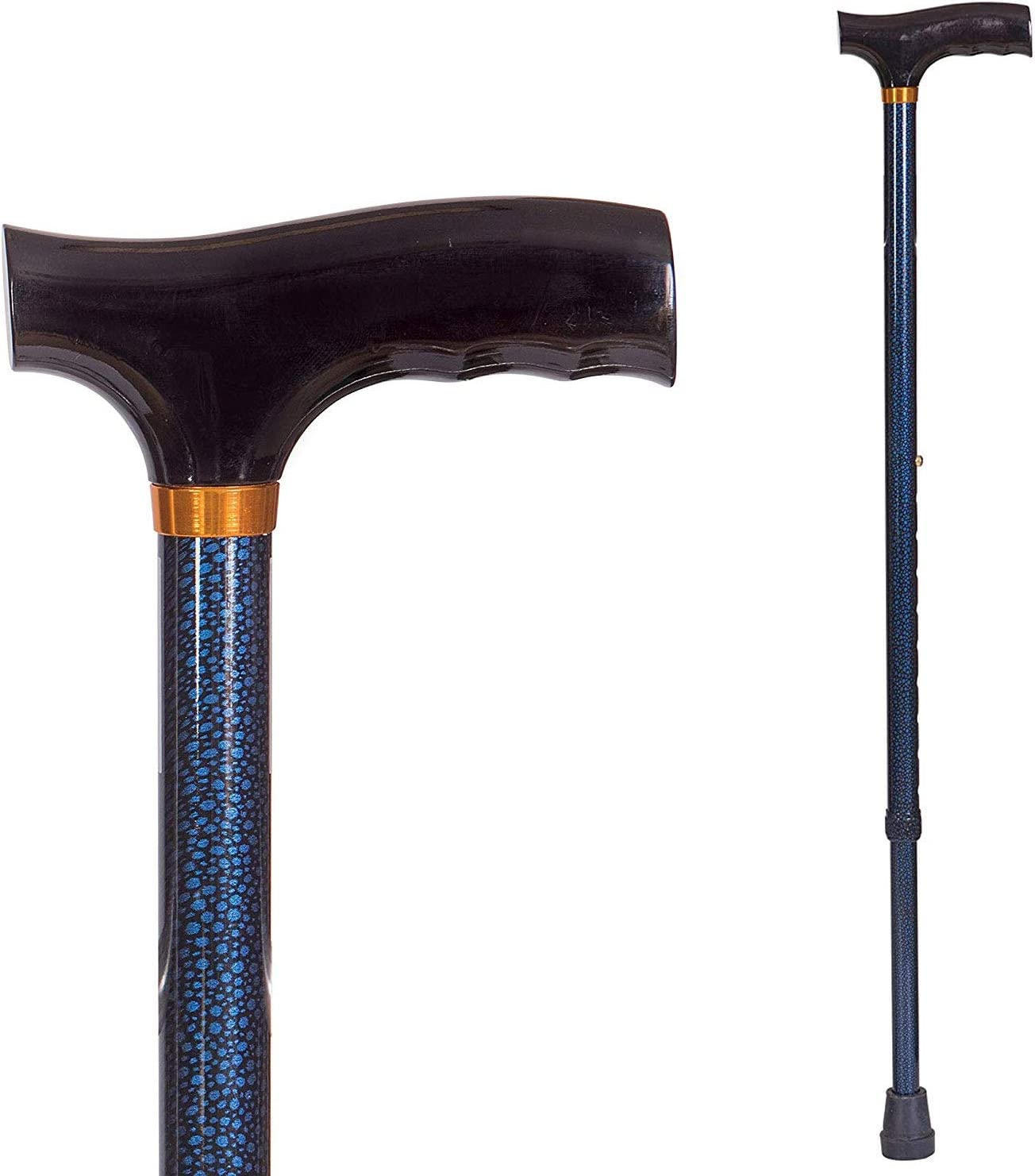 DMI Lightweight Aluminum Adjustable Walking Cane with Derby-Top Handle for Men and Women, Blue Ice: Health & Personal Care