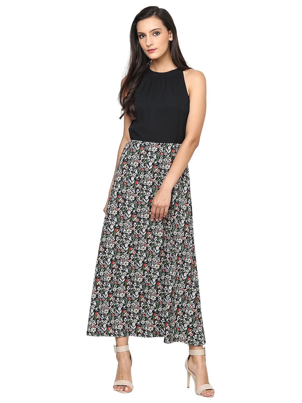 Women's Flower Print Halter Neck Long Maxi