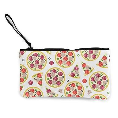 Amazon.com: Monedero de lona con cremallera, diseño de pizza ...