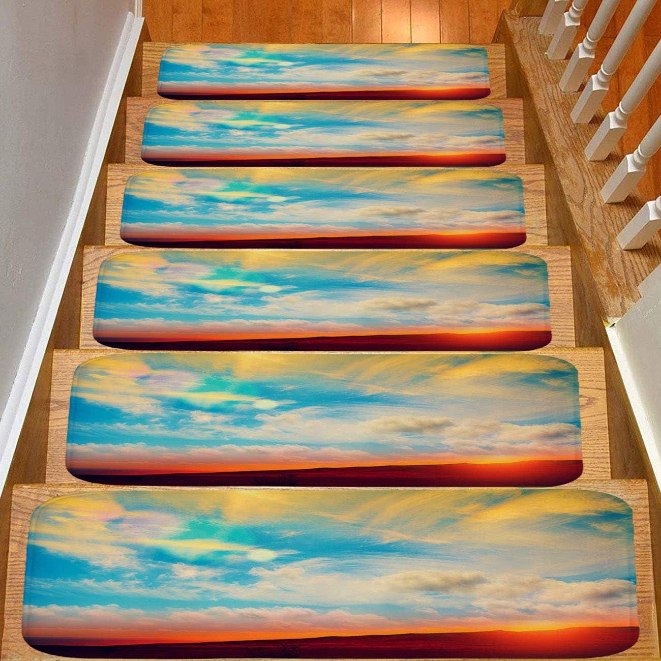 Paquete de 5 alfombrillas de franela para escalera, antideslizantes, diseño de palmeras de mar y atardecer, multicolor, antideslizantes, para niños, ancianos y perros: Amazon.es: Bricolaje y herramientas