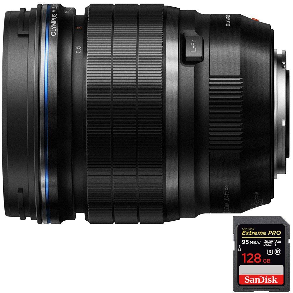 Olympus M.Zuiko Digital ED 45mm f1.2 PRO Lens (V311090BU000) with Sandisk Extreme PRO SDXC 128GB UHS-1 Memory Card