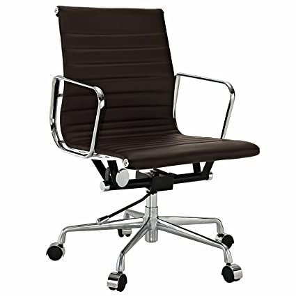 Amazon.com: EMODERN FURNITURE Eames Style Aluminum Group Management Office  Chair Reproduction Leather Brown: Kitchen U0026 Dining