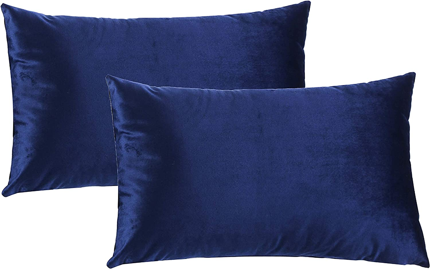 HPUK Pack of 2 Velvet Throw Pillow Cover Cozy Solid Pillowcase Decorative Cushion Cover for Couch Sofa Bedroom Office car, 12x20, Navy