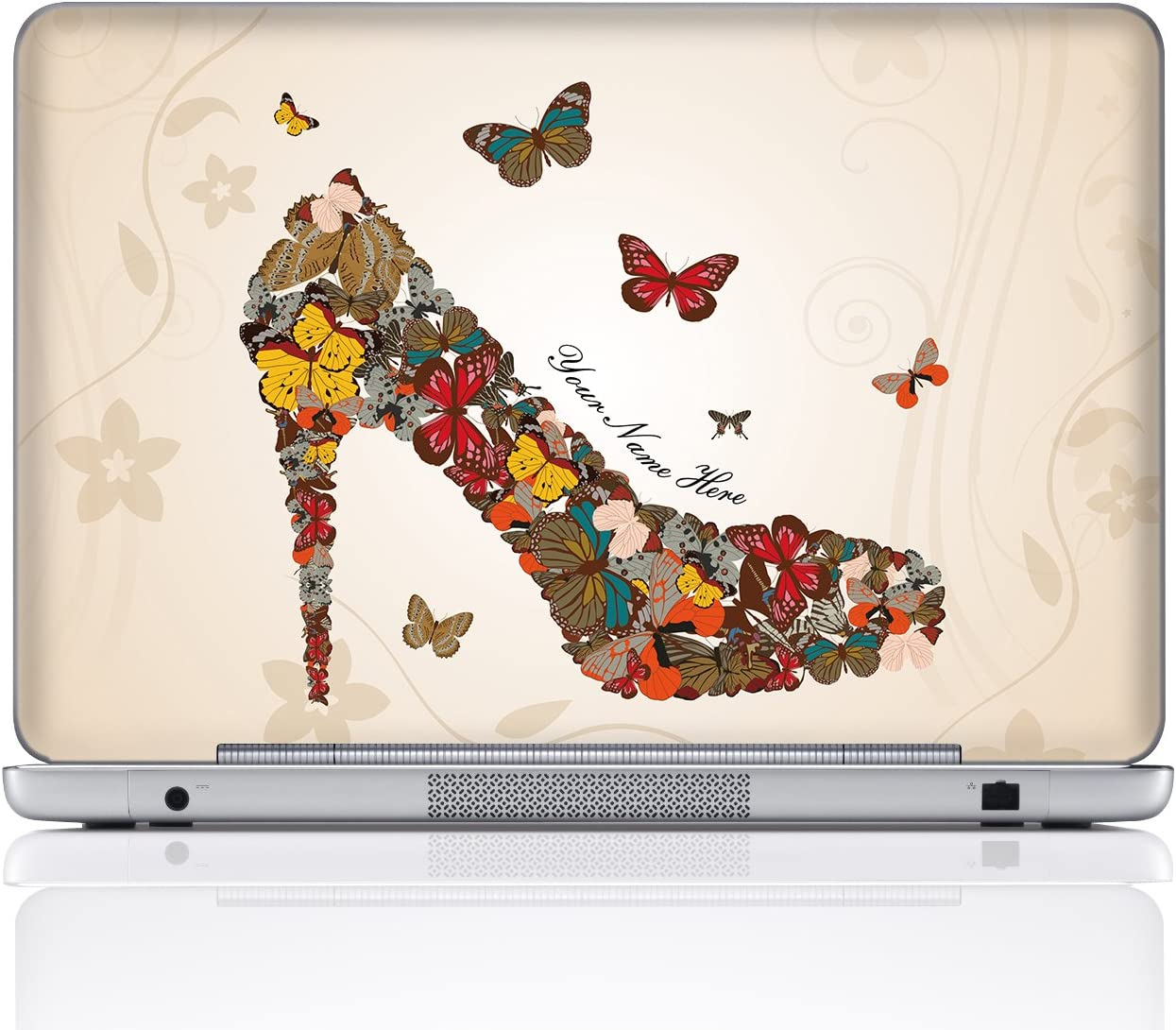 Meffort Inc Personalized Laptop Notebook Notebook Skin Sticker Cover Art Decal, Customize Your Name (17 Inch, Butterfly High Heel)