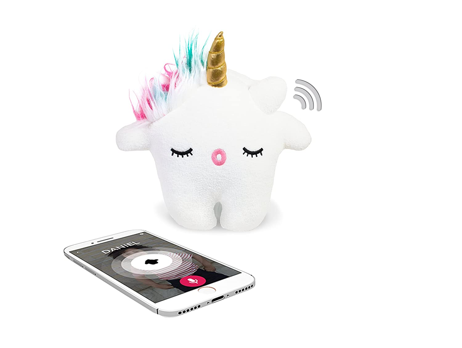 Toymail Talkie Unicorn Lets You Send Messages (Two-Way Voice Chat Phone to Toy). Send Stories and Songs from Free App....