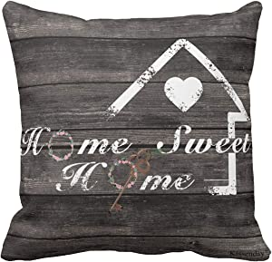 Kissenday 18X18 Inch Home Sweet Home Housewarming Quote Farmhouse Saying Cotton Polyester Decorative Home Decor Sofa Couch Desk Chair Bedroom Birthday Gift Square Throw Pillow Case Standard Pillowcase